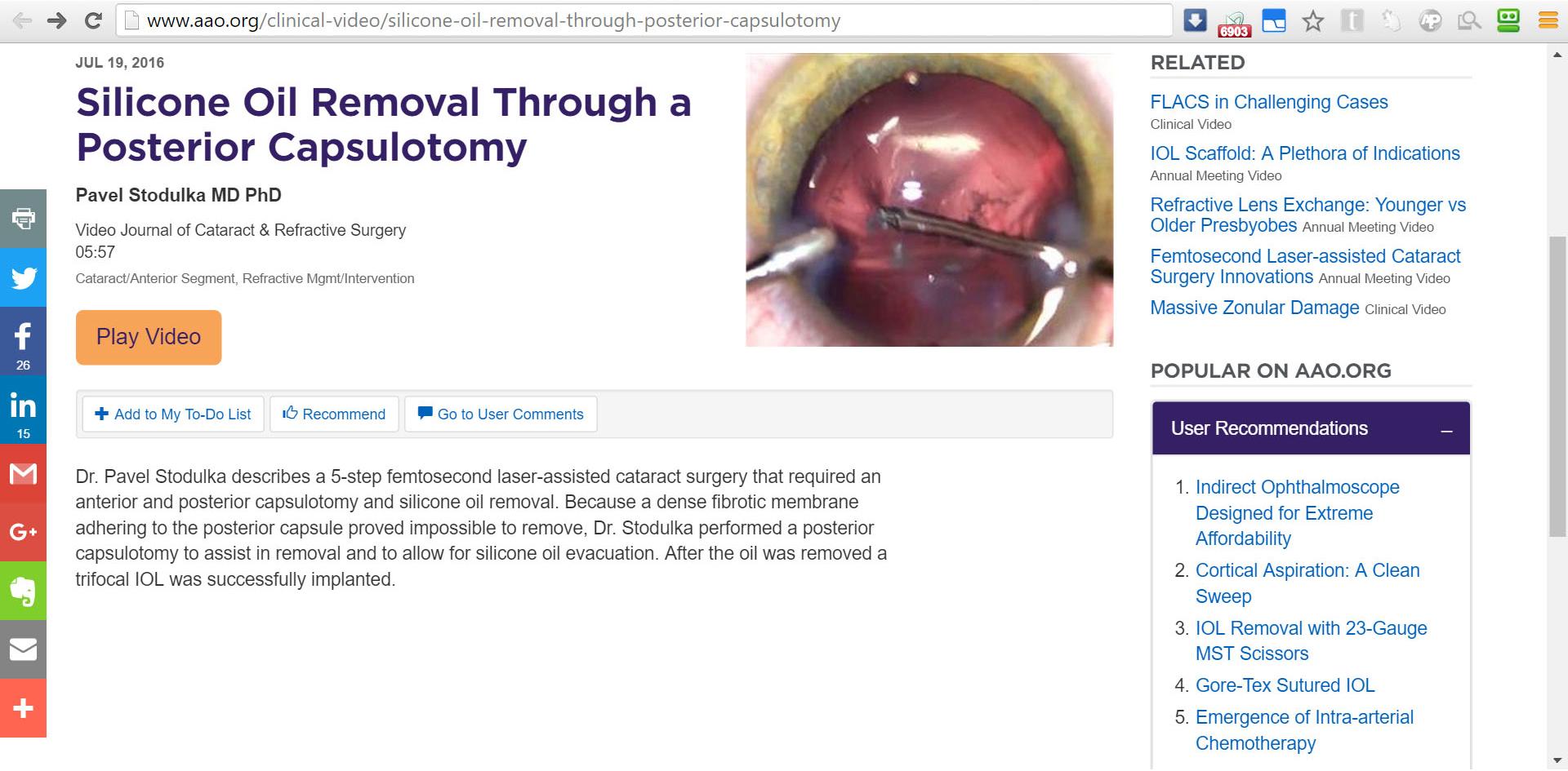 Odkaz na video Dr. Stodůlky na webu AAO.org